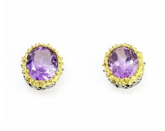Purple Amethyst Earrings, Large Gemstone Earrings, February Birthstone Earrings, Purple Earrings, Coral Earrings, Everyday Earrings, Vintage
