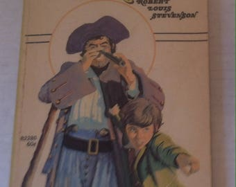 Vintage Book, Treasure Island, Robert Louis Stevenson, Young Readers Press, Young Jim Hawkins finds his life in danger