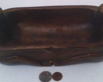 Vintage Wooden Bathtub With 2 Wooden Heads, Carved, Unique, Odd, 9 x 4 x 4 inches, Shelf Display, Crafted Bowl, Dish, Tub, Cleaning