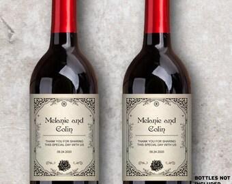 "Printable Vintage Steampunk Wine Bottle Labels - Bridal Shower or Wedding; Personalized 4"" x 5"" - Editable PDF, Instant Download"