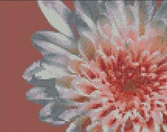 Large dahlia flower cross stitch pattern, cross stitch modern  beautiful flower, big flower, instant download