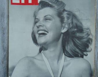 1945 Life Magazine - Vintage Magazine - Sarlet Barbara Bates - Vintage decor - Vintage advertising - Vintage Female photo - Blonde photo