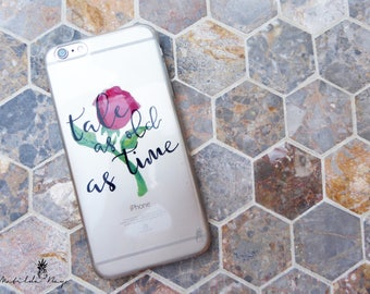 Beauty and the Beast Phone Case with Red Rose and Tale as Old as Time Quote for iPhone or Samsung, Hand Written Typography and Hand Painted