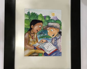 Watercolor of popular novel The Sign of the Beaver by Elizabeth George Speare