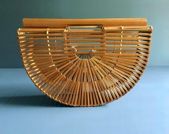 Vintage Boho Bamboo Stick Purse / Arc Purse / Half Moon Purse - Made in Japan - Vintage Boho Accessories