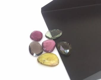 6 Pieces Multi Tourmaline Lot,Rose Cut Cabochon,Rose Cut Stones,Tourmaline Cabochon,Rose Cut Natural Tourmaline Gemstones,Tourmaline,9-12 mm