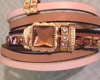 Clearance!  Genuine Leather Multi-Strand Bracelet with Gold Bling and a Quality Magnetic Closure - Fits Average Size Wrists