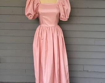 Big Puff Sleeve Pink 1980's Prom Dress XXS