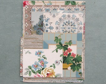 Blue Vintage Wallpaper Scrap Pack 16 Pieces for Collage Scrapbooking Papercrafts