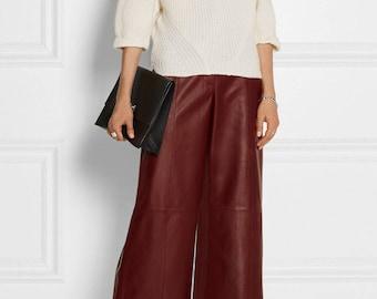 Women Leather Culottes Gaucho Pants Genuine Lambskin Culottes Trouser
