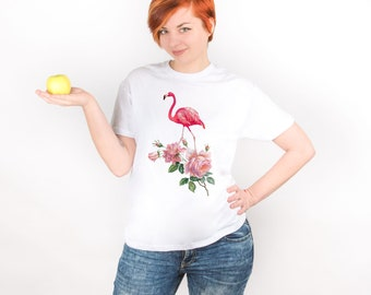 Pink Flamingo Shirt Woman Shirt Flowers Print Shirt Aesthetic Clothing Flamingo Print Shirt Graphic Tee Printed Shirt Plus Sizes Tee PA1062