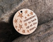 """Stephen Hawking """"Remember to Look Up at the Stars"""" Wooden Pendant"""