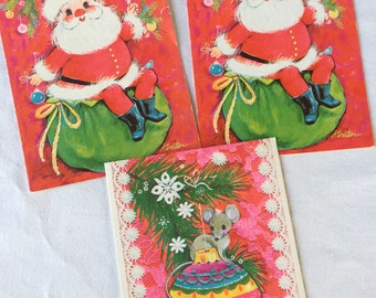 Lot of 3 Vintage Christmas Cards, 3 UNUSED Holiday Cards, Santa Cards, Christmas Mouse Card, No Envelopes, Kawaii, 1960's-1970's
