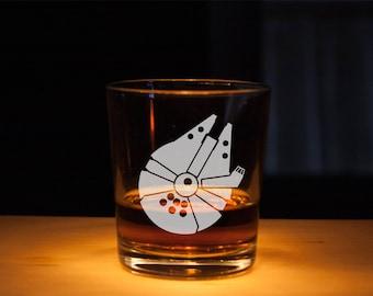 Millennium Falcon Star Wars Whiskey Glass, Rocks Glasses, Falcon Spaceship, Etched glass, Unique gift, Millennium spaceship, Star Wars glass