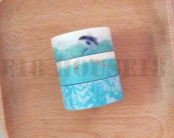 Blue Collection Washi Tape Masking Tape Set of 3 Rolls