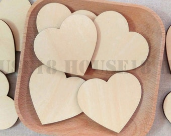 50 PCS Wood Heart Laser Cut Wooden Heart Rustic Wedding Country Wedding Bridal Shower Decorations | Blank