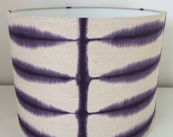 Hand made rolled-edge 'Shibori' fabric lampshade