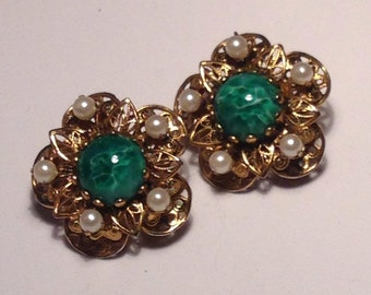 Anniversary Sale Vintage Goldtone Filagree Earrings