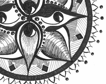 Black and White Art Print- Black and White Illustration- 'Four Eyed Mandala' Illustration- Hand Drawn Reproductions- 8.5 x 11 Art Print