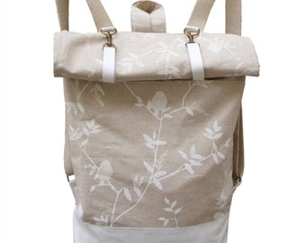 Linen Backpack with  Bird /White Goat Leather / bag /rucksack /natur / ikkibags