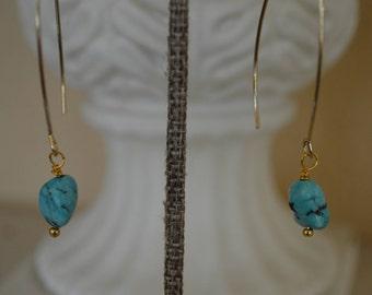 Truquoise Drop Earrings, Boho Turquoise Earrings, Turquoise Dangle Earrings, Turquoise Earrings, Gold and Turquoise Earrings, Earrings