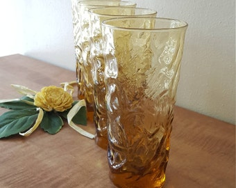 "Amber Glassware 4 Anchor Hocking Amber Milano Honey Gold 6 1/2"" Ice Tea Glasses~Milano Lido Crinkle 4 Amber Honey Gold Glasses"