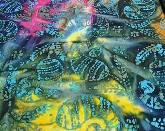 Blue and Yellow Cotton Batik Fabric