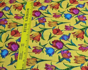 Butterflies Are Free Tulips-Yellow-Cotton Fabric from Paintbrush Studios