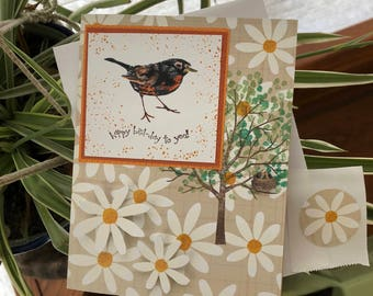 Spring Happy Birthday Card, Greeting Card, Robin, Nest, Daisies, Dawns BlanchCards