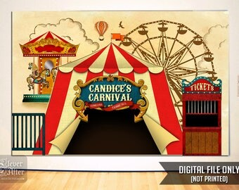 Carnival Backdrop Printable vintage carnivale poster personalized circus tent big top banner amusement park sign photobooth & Carnival backdrop | Etsy