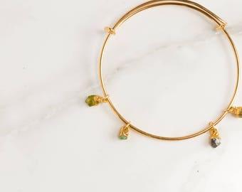 Four Gemstone Bracelet, Childrens Birthstone Bracelet, Adjustable Bracelet, Boho Style, Bridesmaids Gift for Her, Birthstone Jewelry, Dainty