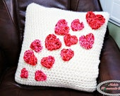 Crochet Pattern: Pillow Case with Flying Hearts made without sewing or slip stitching (besides the hearts) *cozy *love *valentine