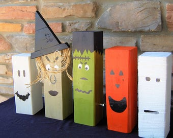 Single Halloween Character Wooden Home Decor- 4x4 lumber, ghost, witch, Frankenstein, mummy, jack-o-lantern, decorations, fun, silly
