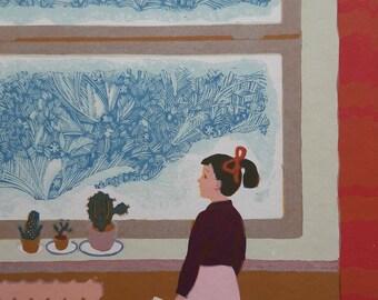 Soviet Vintage Linocut, Children, European Fine Art, One of a kind