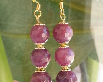 Ruby and plated gold - earrings.