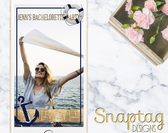 Custom Snapchat Geofilter|| bachelorette, let's get nauti, nautical theme, birthday, custom, filter, beach, miami, mr and mrs, gold, glitter