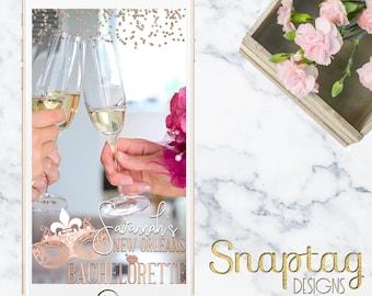 Custom Snapchat Geofilter || bachelorette, new orleans, mardi gras, bachelorette filter, mardi gras mask, sweet sixteen, rose gold, birthday