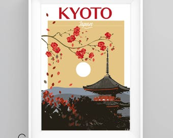 KYOTO, JAPAN Temple Vintage Travel Poster, A4/A3 Print, Custom Options.