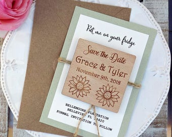 Sunflower Magnet Wood Save the Date Wedding Magnet Rustic Wood Magnet Save The Date Magnet Wood Wedding Magnets Wooden Save The Date