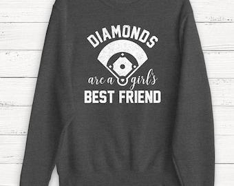 Diamonds are a Girl's Best Friend - Sweatshirt - Sweater - Baseball - Women's Baseball Mom - Baseball Shirt - Women's Shirt - TShirt