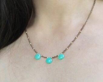 Chrysoprase and Smokey Quartz Necklace, Chrysoprase Jewelry, Mint Green Necklace, Chrome Green Gemstone Necklace, Green and Brown Necklace