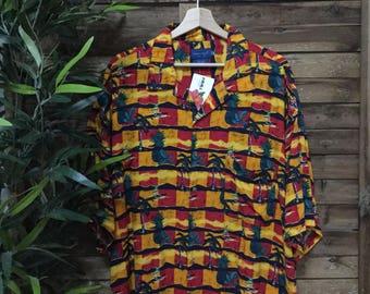 Hawaiian Shirt Camisa Hawaiana 90s Vintage Town Craft Mahalo Vintage Store