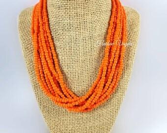 Necklace, multi strand necklace, bright orange necklace, tangerine orange necklace, orange necklace, adjustable length, tangerine necklace