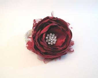 Burgundy Wrist Corsage, Marsala Wedding Fabric Flower Bracelet, Vintage-Style Shabby Chic Mother of the Bride Red Prom, Rhinestone Brooch