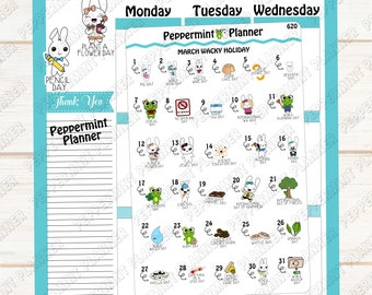 March Wacky Holidays --- Planner Stickers --- 620