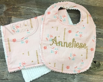 Personalized Baby Bib and Burp Cloth Set - Chenille Baby Girl Bib- Vintage Mint and Pink Floral Metallic- Monogrammed Baby