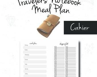 Cahier Insert, Meal Plan, Grocery List, Fauxdori, Midori Insert, Cahier tn, Notebook Refill, FoxyDori, ChicSparrow, PDF