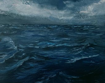 Dark sea (oil painting, original, 20 cm x 20 cm)