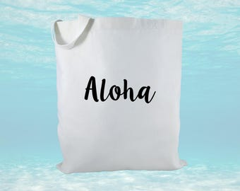Aloha Canvas Tote Bag, Hawaii Canvas Tote Bag, Welcome Gift, Hawaii Gift, Beach Bag
