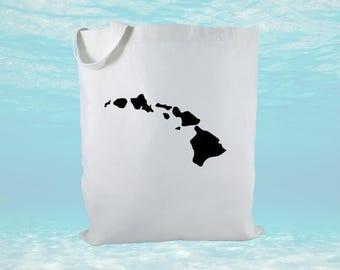 Hawaiian Islands Canvas Tote Bag, Hawaii Tote Bag, Beach Bag, Hawaii Gift Bags